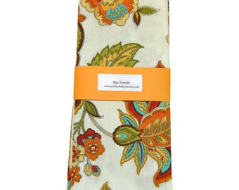 Tea Towels, Teal, Green and Gold, Kitchen Towels,  Set of 2, Decorative Kitchen Towels, Cotton Hand Towels