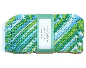 Hand Knit Dish Cloths, Green Multicolored Dishcloths, Green and Blue Dishrags, Hand Knit Green Dishcloths, Knitted Green Dish Cloths