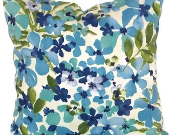 """Turquoise Pillow Cover, Waverly Sun 'N Shade Decorative Pillow Cover 18"""" X 18""""  Aqua, Blue, Green, Navy Flowers Pillow Cover"""