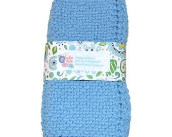 Blue Dish Cloths, Hand Knit, Hand Knit Dishcloths, Knitted Dishcloths, Hand Knit Dish Rags,  Blue Dishrags  Set of 2
