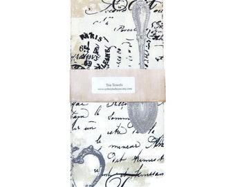 Tea Towels, French Script, Hand Towels, Paris Tea Towels, Paris , Dish Towels, Set of 2, Decorative Kitchen Towels