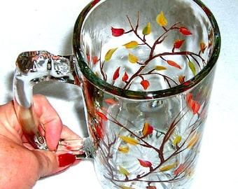 Beer Mug Autumn Leaves Hand Painted