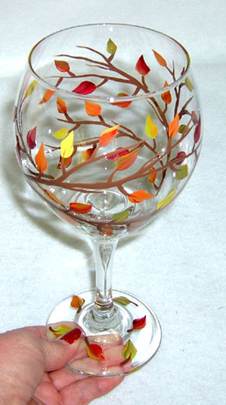 Autumn Leaves 20 oz Wine Glass Hand Painted