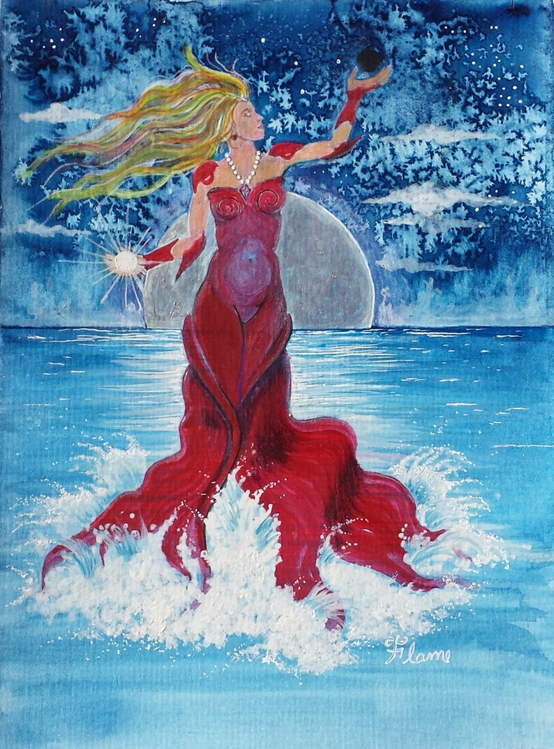 Sun Sign Cancer Art Print Lady In Red Portrait Blue Ocean image 0