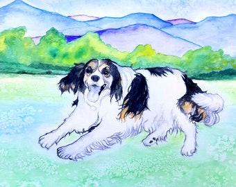 Custom Stylized Portrait - Dog, Cat, Person, Home in Acrylic or Watercolor on Canvas, Paper. Great Personalized Pet Memorial Gift