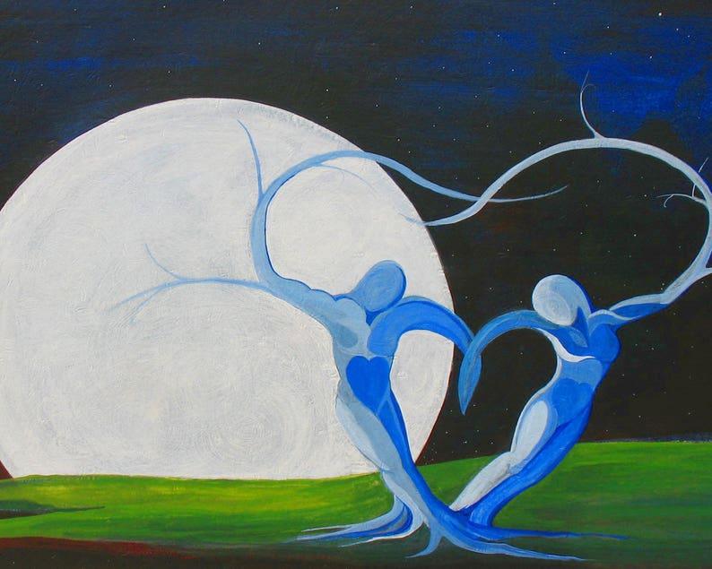 Lovers Wall Art Print Full Moon In loveTree Lovers image 0