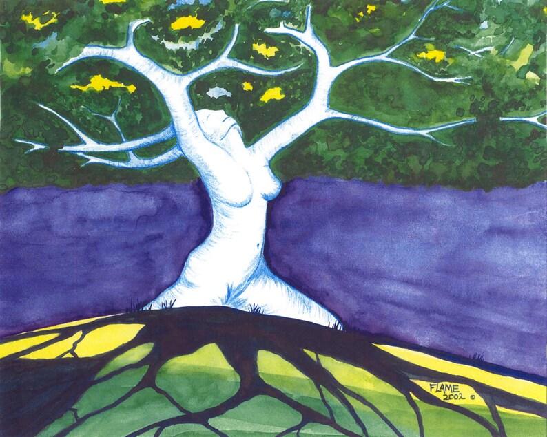Sensual Goddess Tree Of Life Mother Earth Pagan Nude Figure image 0