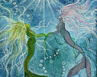 Pisces Blank Greeting Cards Note cards, Sun Sign, Zodiac, Astrology Watercolor Mermaids, Blues Seascape Fantasy Spirit Art by Flame Bilyue