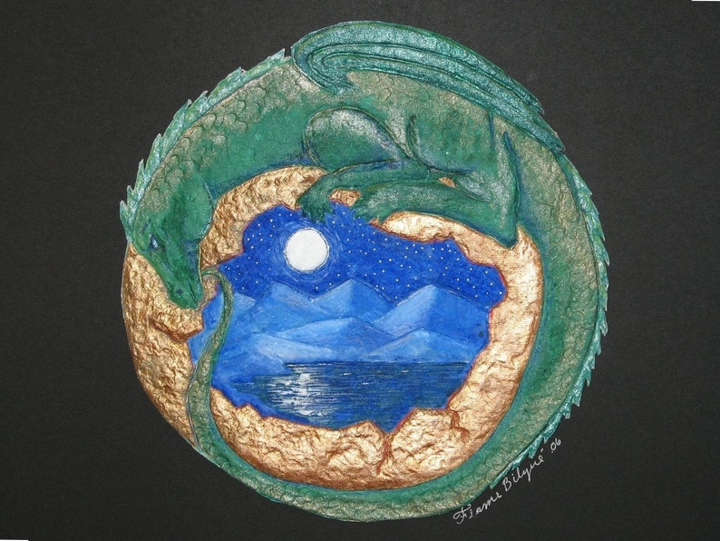 Green DragonMountain lakefull moonbirth and deathfantasy image 0