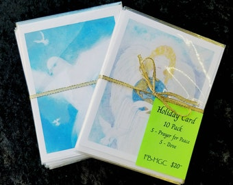 Prayer for Peace,Holiday Greeting Cards,white dove,Set of 10 Cards,Blank Inside,Angel & Dove,Christmas peace,Guardian Angel,Flame Bilyue