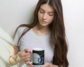 15 oz Ceramic Coffee Mug-Arbor Moon Dance,Dryads,Fairies,Full Moon,Tree of life,Lovers,Goddess,Visionary,Fantasy Landscape,Flame Bilyue