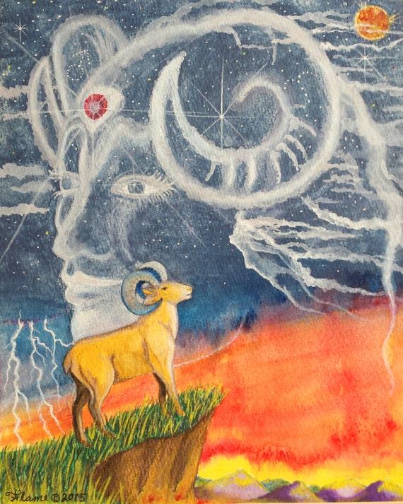 Aries Sun sign - Astrology Watercolor Wall Art Print - Surreal Fantasy  Zodiac Birthday Gift - Ram Mars - Horoscope sunset By Flame Bilyue