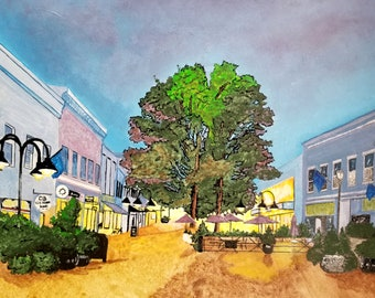 Downtown Mall, Charlottesville Pedestrian Mall,Virginia Wall Art, Cityscape Art Print, Cville Souvenier, Virginia, Souvenir,Flame Bilyue