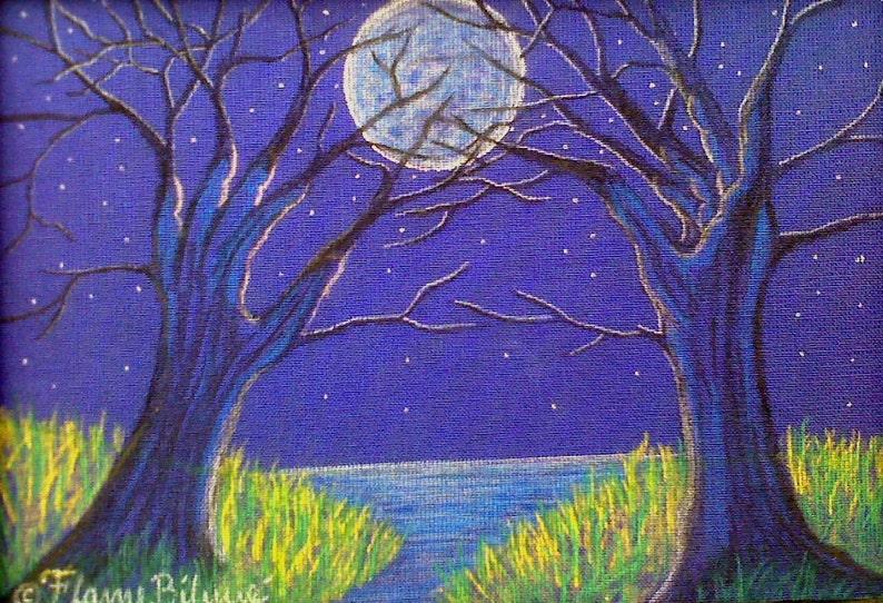 Fantasy Landscape Moonlight lake surreal imagery tree image 0
