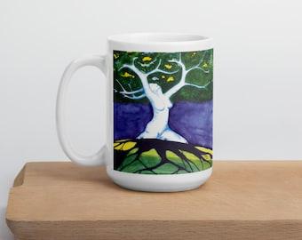 Ecstatic-15 oz Ceramic Coffee Mug,Sensual Goddess,Tree Of Life,Mother Earth,Pagan,Nude,Dryads,Tree Fairy,Celtic Mythology,Fantasy Landscape