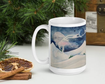 Capricorn portrait-15 oz Ceramic Coffee Mug-astrological imagery,winter mountain scene,full moon,signs of zodiac,Christmas,December Birthday