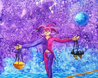 Libra Sun sign, Star sign, Zodiac, Astrology, Horoscope, Libra Gifts, Balance, Scales, Constellation, Watercolor Fantasy Wall Art Print