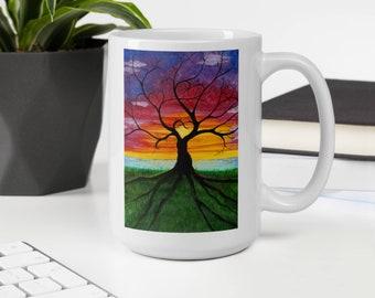 Rooted in Love Ceramic 15oz Coffee Mug,Goddess Tree/Dryad,Blueridge Sunrise,Skyline Sunset,UU,Tree Spirit,Virginia Blue Ridge Mountains