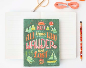 Blank Lined Travelers Journal, Travel Notebook, Watercolor Thoreau Quote Illustration, Illustrated Thoreau Journal, Gifts for Adventurers