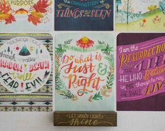 Ensemble de Bible verset Art Print, typographie aquarelle Art, source d'inspiration cadeau moins de 20 ans pour elle, l'écriture religieuse Bureau Illustration impression
