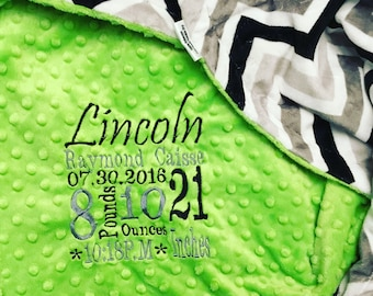Custom Personalized  Minky Blanket in dimple dot dark lime/chevron black/grey