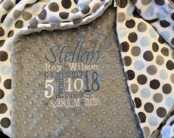 Personalized Custom Embroidered Minky Blanket in Dimple dot silver/mod dot baby blue