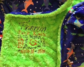 Personalized Custom Embroidered Minky Blanket in Lime green rose cuddle/minky sharkies deep ocean
