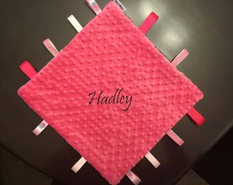 Personalized Taggy Blanket - Minky and Ribbons