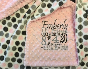 Custom embroidered personalized Minky blanket