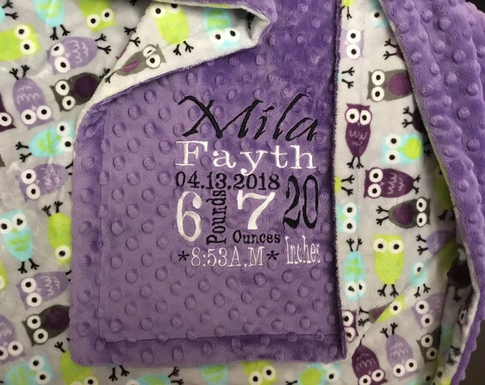 Featured listing image: Personalized custom minky blanket in dimple dot Jewel/night owl Tiffany violet