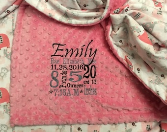 Custom Personalized Minky Blanket in dimple dot hot pink/fuchsia jungle dreams