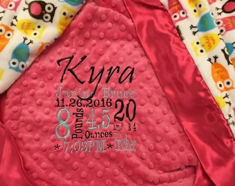 Custom Personalized Minky Blanket in Dimple Dot fuchsia/night owl carnival