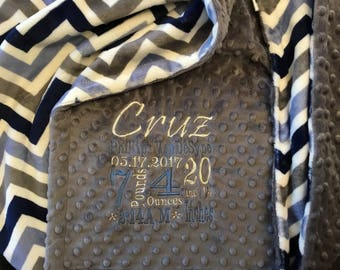 Personalized Custom Embroidered Minky Blanket in dimple dot charcoal/chevron navy/denim/ivory