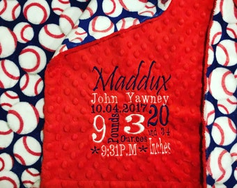 Custom Personalized Embroidered Minky Blanket