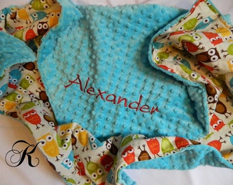 Personalized Custom Embroidered Minky blanket in Turquoise dimple dot/cotton brown owl print