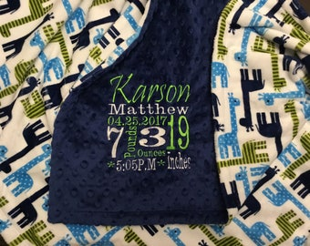 Personalized embroidered minky blanket