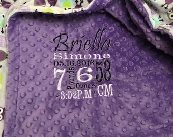 Personalized custom minky blanket in dimple dot Jewel/night owl Tiffany violet