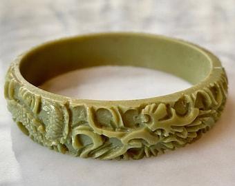 Rare Green Celluloid Dragon Bracelet