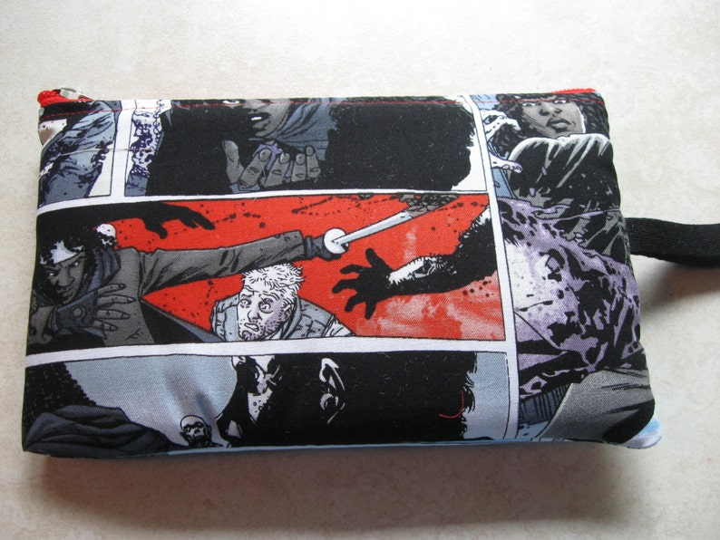 zombie comic strip print large padded bag