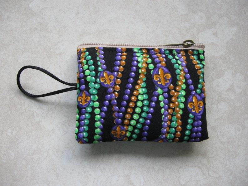 coin purse size mardi gras beads mini padded bag
