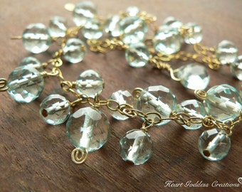 The Gold Glittery Faceted Blue Quartz Cluster Bracelet With Spirals