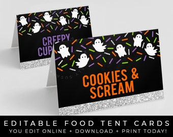 Food Tent Halloween Skulls Rustic Name Place Cards INSTANT DOWNLOAD Birthday Engagement Self Editing Party Displays Cocktail Snacks Signs