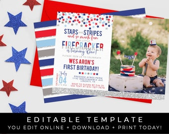 image regarding Free Printable Patriotic Invitations identified as Patriotic invitation Etsy
