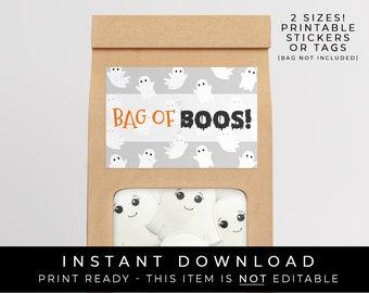 Instant Download Bag of BOOS Ghost Cookies Printable Label, Halloween Cookie Packaging Ghost Cookies Sticker or Tag, #156bobID VIP