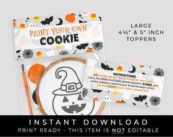 Instant Download Large Halloween Paint Your Own Cookie Bag Topper Printable, Halloween PYO Cookie Instructions Bag Topper Tag, #179A2ID VIP