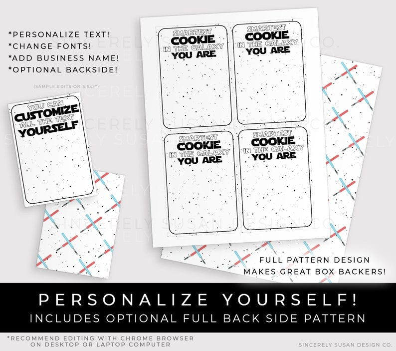 Space Galaxy May the Fourth Be With You Personalized Gift CUSTOMIZABLE Star Wars Cookie Cards Printable Cookie Packaging Corjl #114W VIP