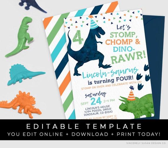 Dino 1st Birthday T-Rex Instant download Dinosaur birthday Editable Dinosaur birthday invitation Dinosaur invitation Gold Dinosaur party