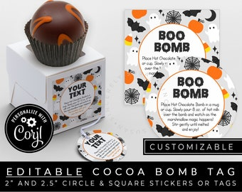 CUSTOMIZABLE Halloween Hot Cocoa Bomb Tag, Printable Hot Chocolate Bomb Directions Instructions Tag Sticker, Boo Bomb Tag, #179A VIP