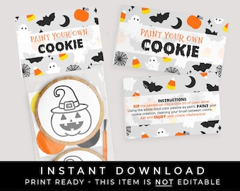 Instant Download Halloween Paint Your Own Cookie Bag Topper, Printable Halloween PYO Mini Cookie Instructions Tag, #179AID VIP