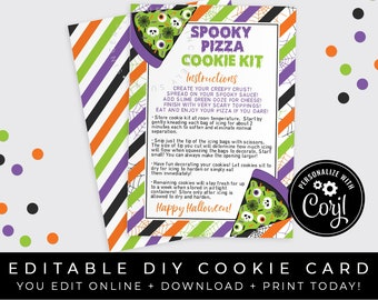 CUSTOMIZABLE Spooky Pizza Halloween DIY Cookie Kit Instructions Printable Card, Creepy Cookie Decorating Kit Card Packaging, Corjl #182W VIP